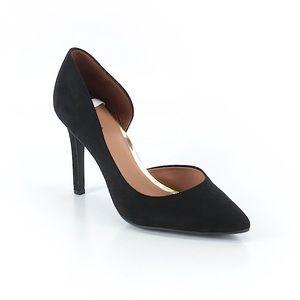 Merona black faux suede Dorsay heels